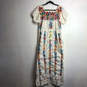 Vintage embroidered floral Mexican maxi dress